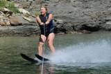 Brenda skiing on Fishing Creek, Lake Cumberland