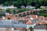 View from the Castle in Heidelberg of the River Neckar and it's 1780s stone bridge