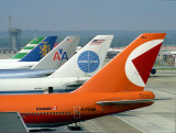 LGW  747   tail lineup in 1980