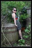 Red belt & dot dress