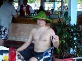Bart wearing the banana leaf hat