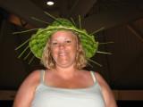 Kim in the banana leaf hat