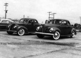 1953 - Jack Trammel and his 1938 Ford (left) and John Tomasetti's 1940 Ford at a drag race in Davie