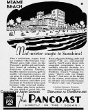 1937 - ad for The Pancoast Hotel on Miami Beach with their golden private beach
