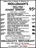 1965 - ad for Holloman's Restaurant where eating out is always a pleasure