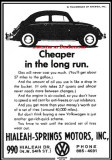 1966 - ad for Hialeah-Springs Motors, Hialeah's Volkswagen dealer