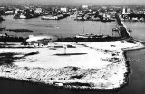 1934 - the Goodyear Blimp on Watson Island with the County Causeway and Port of Miami in the background