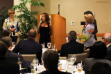 Dick and Sonja Judy's daughter Jolie J. Davis speaking to the guests at Dick's Celebration of Life luncheon