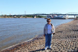 September 2011 - Karen next to the Mississippi River at the Gateway Arch in St. Louis