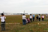 2012 MIA Airfield Tour - bus #2 tour group with the Lufthansa A380 landing on runway 27 in the background