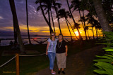 July 2009 - Donna and Karen at sunset at the Hyatt Regency on Kaanapali Beach, Maui