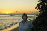 July 2009 - Karen on Kaanapali Beach, Maui, at sunset