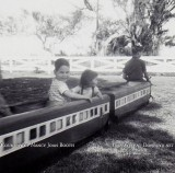 1964 - David and Nancy Joan Booth riding the kiddie train at Dressel's Dairy on Milam Dairy Road in Dade County