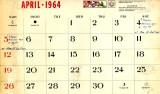 Mike Murnane's April 1964 calendar
