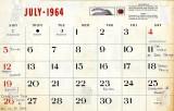 Mike Murnane's July 1964 calendar