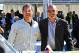 Awardee Harry Yeaggy, left, with honorary concours chairman and former Indianapolis 500 champion Bobby Rahal (CR)