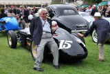 Human brakes stop 1953 Kurtis Kraft KK 500B Bardahl Special from rolling back into another car, Pebble Beach Concours (4155)