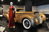 1937 Delage D-8 Coupe Aerosport & 1938 Bergdorf Goodman evening dress, Petersen Automotive Museum's Automotivated show (5006)