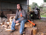This is what I look like after a couple hours chopping wood