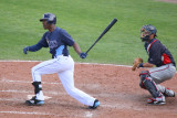 BJ Upton hits a fly ball to left