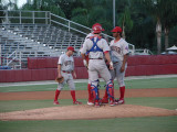 Threshers call a mound conference to settle down
