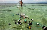Fisherman preparing his net