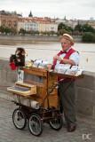 real organ grinder, fake monkey
