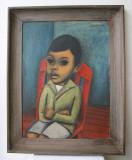 Boy on a Red Chair in a Blue Room by Juan De'Prey
