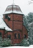 Library Clock in the Snow