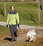 Walk in the park with dog