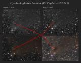 Gyulbudaghian's Nebula (PV Cephei = HH 215) - The disappearing jet: Aug 7 2010 - May 27 2011