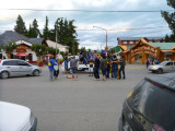 A street celebration in El Calafate by fans of the Boca Juniors soccer team after the team won the Argentina championship
