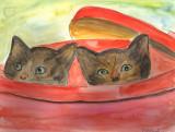 Two Kittens in a Bin Watercolour