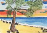 ACEO Palm Tree on a Beach