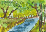 ACEO  Stream Through The Woods