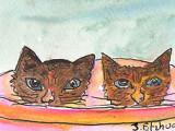 ACEO Two Kittens In a Bin SOLD