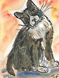 ACEO Fat Cat Watercolour, pen and ink