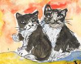 ACEO Two Raggy Kittins