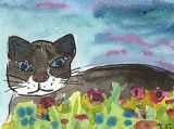 ACEO Cat In The Grass