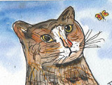 ACEO Bobby The Cat Watercolour pen and ink