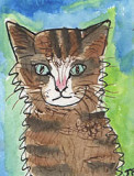 ACEO Original watercolour pen and Ink SUSAN THE CAT
