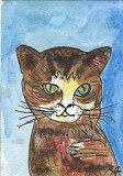 ACEO Original watercolour pen and ink AMBER