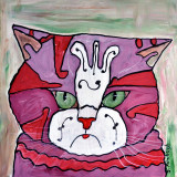 Music Cat acrylic on wood for sale