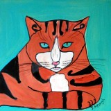 Tiger Cat acrylic on wood
