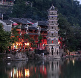 Fenghuang Pagoda just before all the night lights came on