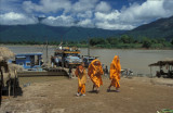 Monks just off a river ferry