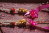 Flower leis adorn a boat