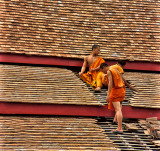 Monks Repairing a Temple Roof