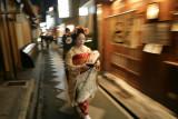 Geisha rushing to dinner in Gion