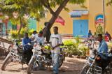 Happy young bikers in Arusha
